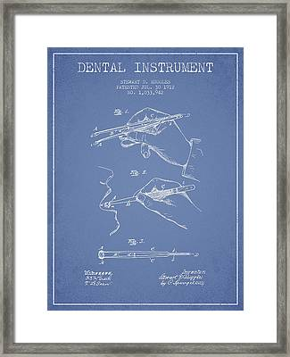 Dental Instrument Patent From 1912 - Light Blue Framed Print by Aged Pixel