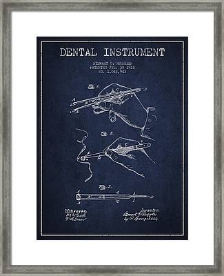 Dental Instrument Patent From 1912 - Navy Blue Framed Print by Aged Pixel