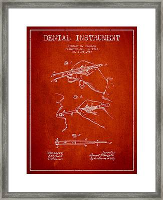 Dental Instrument Patent From 1912 - Red Framed Print by Aged Pixel