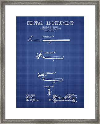 Dental Instruments Patent From 1902 -  Blueprint Framed Print by Aged Pixel