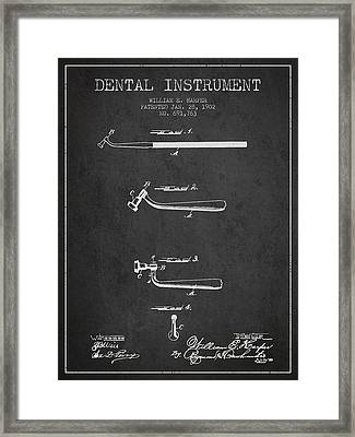 Dental Instruments Patent From 1902 - Dark Framed Print by Aged Pixel