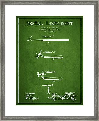 Dental Instruments Patent From 1902 - Green Framed Print by Aged Pixel