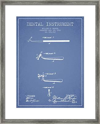 Dental Instruments Patent From 1902 - Light Blue Framed Print by Aged Pixel