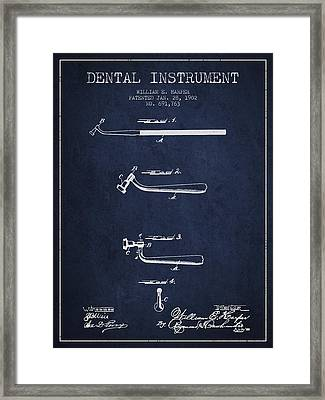 Dental Instruments Patent From 1902 - Navy Blue Framed Print by Aged Pixel