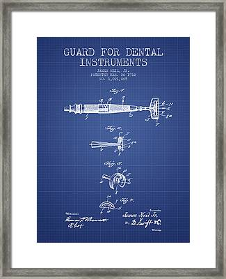Dental Instruments Patent From 1912 -  Blueprint Framed Print by Aged Pixel