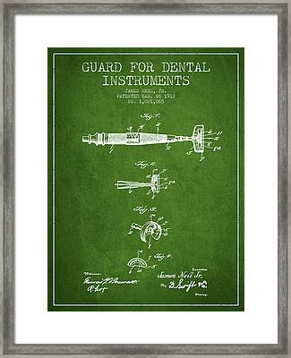 Dental Instruments Patent From 1912 - Green Framed Print by Aged Pixel
