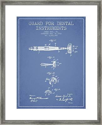 Dental Instruments Patent From 1912 - Light Blue Framed Print by Aged Pixel