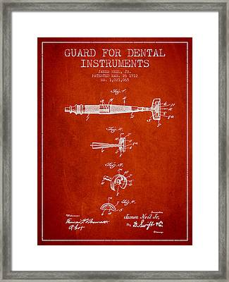 Dental Instruments Patent From 1912 - Red Framed Print by Aged Pixel