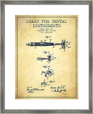 Dental Instruments Patent From 1912 - Vintage Framed Print by Aged Pixel