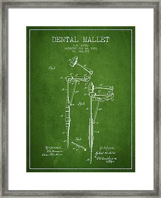Dental Mallet Patent From 1881 - Green Framed Print by Aged Pixel