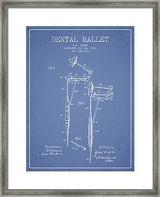 Dental Mallet Patent From 1881 - Light Blue Framed Print by Aged Pixel