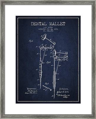 Dental Mallet Patent From 1881 - Navy Blue Framed Print by Aged Pixel