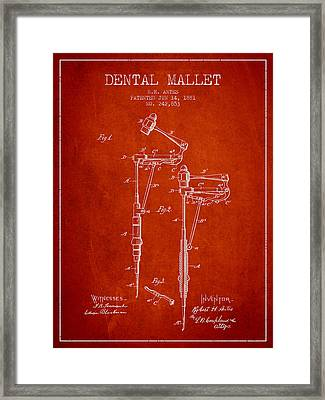 Dental Mallet Patent From 1881 - Red Framed Print by Aged Pixel