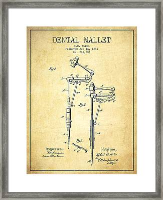 Dental Mallet Patent From 1881 - Vintage Framed Print by Aged Pixel