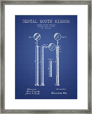 Dental Mouth Mirror Patent From 1892  - Blueprint Framed Print
