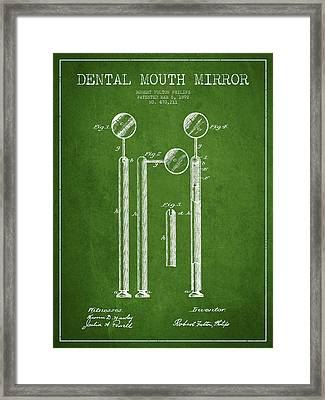 Dental Mouth Mirror Patent From 1892 - Green Framed Print