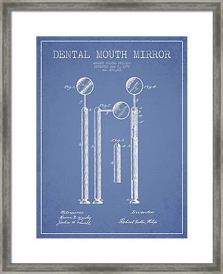 Dental Mouth Mirror Patent From 1892 - Light Blue Framed Print