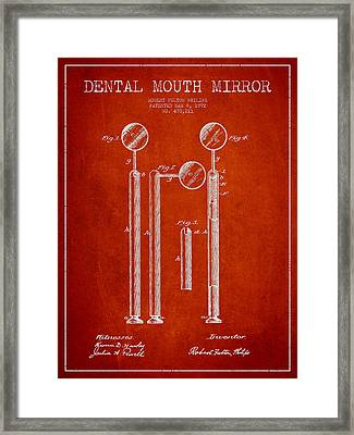 Dental Mouth Mirror Patent From 1892 - Red Framed Print