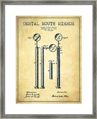 Dental Mouth Mirror Patent From 1892 - Vintage Framed Print