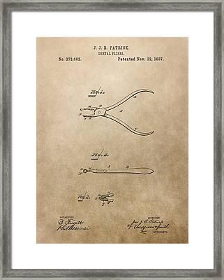 Dental Pliers Patent Design Framed Print