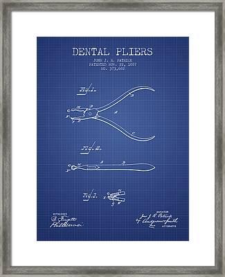 Dental Pliers Patent From 1887 - Blueprint Framed Print