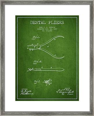 Dental Pliers Patent From 1887- Green Framed Print