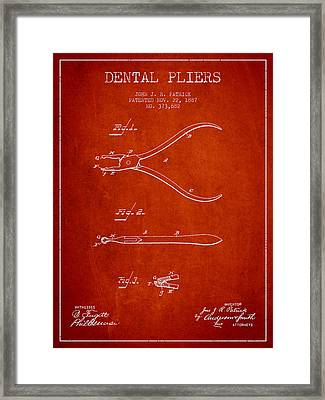 Dental Pliers Patent From 1887- Red Framed Print