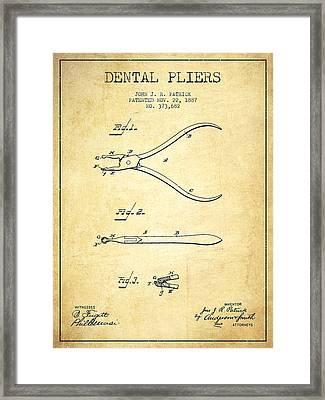 Dental Pliers Patent From 1887- Vintage Framed Print