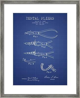 Dental Pliers Patent From 1903 - Blueprint Framed Print