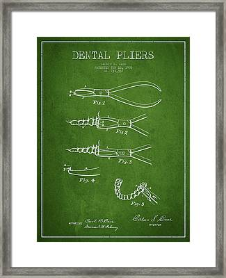 Dental Pliers Patent From 1903 - Green Framed Print by Aged Pixel