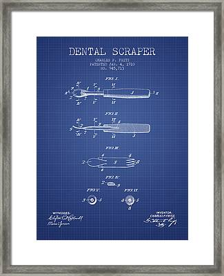 Dental Scraper Patent From 1910- Blueprint Framed Print by Aged Pixel
