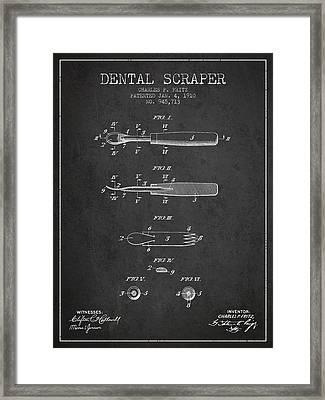 Dental Scraper Patent From 1910 - Dark Framed Print