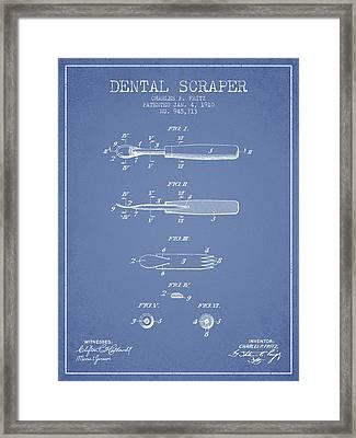 Dental Scraper Patent From 1910 - Light Blue Framed Print