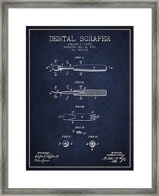 Dental Scraper Patent From 1910 - Navy Blue Framed Print