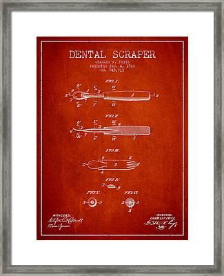 Dental Scraper Patent From 1910 - Red Framed Print