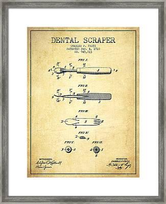 Dental Scraper Patent From 1910 - Vintage Framed Print