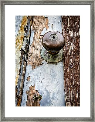 Dented Doorknob Framed Print by Caitlyn  Grasso