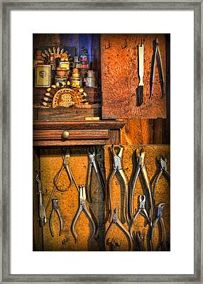Dentist - Dental Porcelain And Extracting Forceps Cabinet Framed Print by Lee Dos Santos