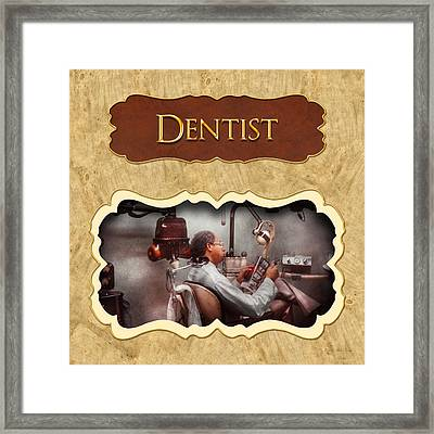 Dentist Button Framed Print by Mike Savad