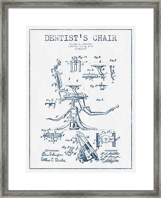 Dentist Chair Patent Drawing From 1892 - Blue Ink Framed Print