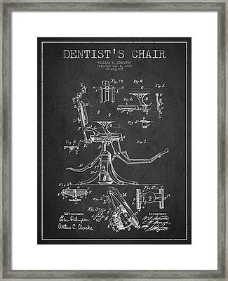 Dentist Chair Patent Drawing From 1892 - Dark Framed Print