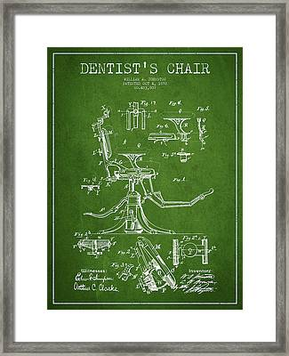 Dentist Chair Patent Drawing From 1892 - Green Framed Print