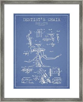 Dentist Chair Patent Drawing From 1892 - Light Blue Framed Print by Aged Pixel