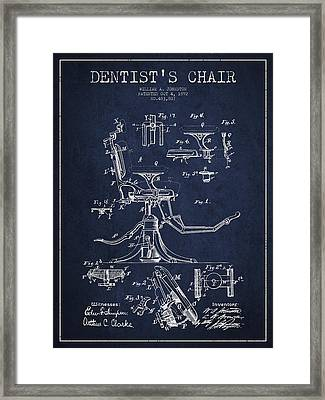 Dentist Chair Patent Drawing From 1892 - Navy Blue Framed Print