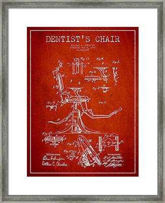 Dentist Chair Patent Drawing From 1892 - Red Framed Print