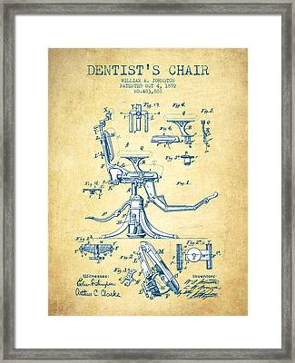 Dentist Chair Patent Drawing From 1892 - Vintage Paper Framed Print