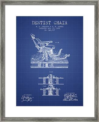 Dentist Chair Patent From 1886 -  Blueprint Framed Print by Aged Pixel