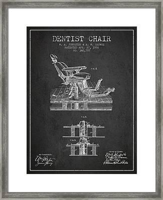 Dentist Chair Patent From 1886 - Dark Framed Print