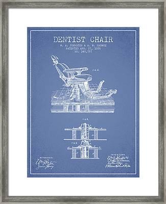 Dentist Chair Patent From 1886 - Light Blue Framed Print by Aged Pixel