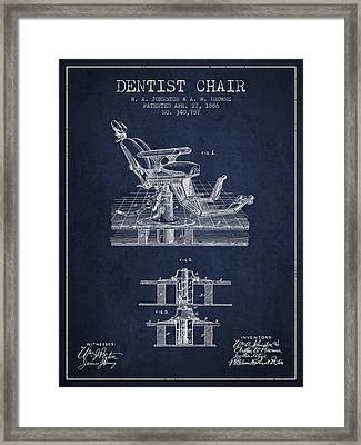 Dentist Chair Patent From 1886 - Navy Blue Framed Print